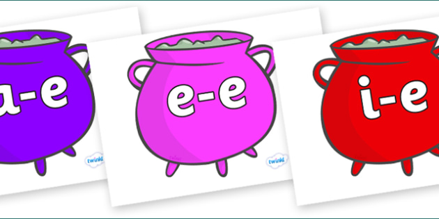 Modifying E Letters on Cauldrons (Multicolour) - Modifying E, letters, modify, Phase 5, Phase five, alternative spellings for phonemes, DfES letters and Sounds