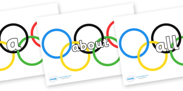 100 High Frequency Words on Olympic Rings - High frequency words, hfw, DfES Letters and Sounds, Letters and Sounds, display words
