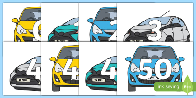 Numbers 0-50 on Cars - 0-50, foundation stage numeracy, Number recognition, Number flashcards, counting, number frieze, Display numbers, number posters