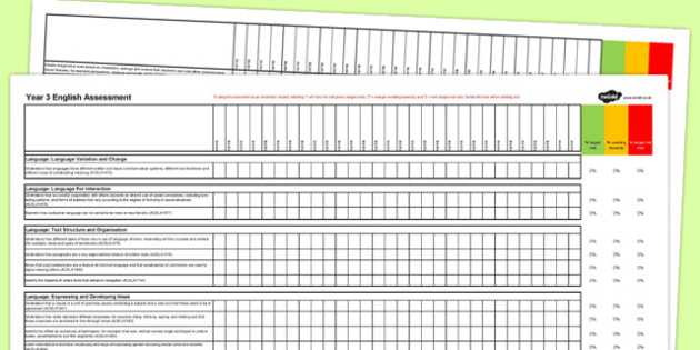Australian Curriculum Year 3 English Assessment Spreadsheet - australia, curriculum, assessment