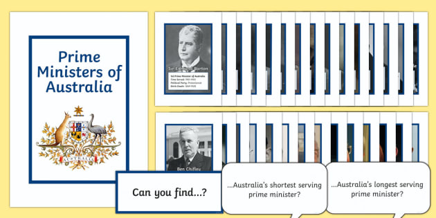 Australia's Prime Ministers Can you Find...? Poster and Prompt Card Pack-Australia