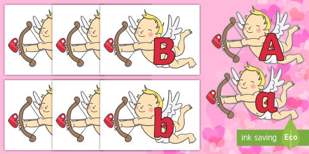 A-Z Alphabet on Cherubs - A-Z, A4, display, Alphabet frieze, Display letters, Letter posters, A-Z letters, Alphabet flashcards