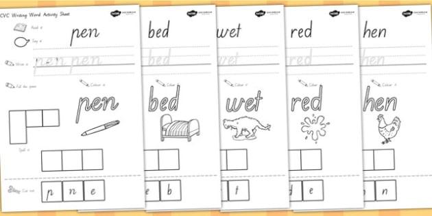 CVC Writing Word Activity Sheets E - cvc words, cvc activities, worksheet