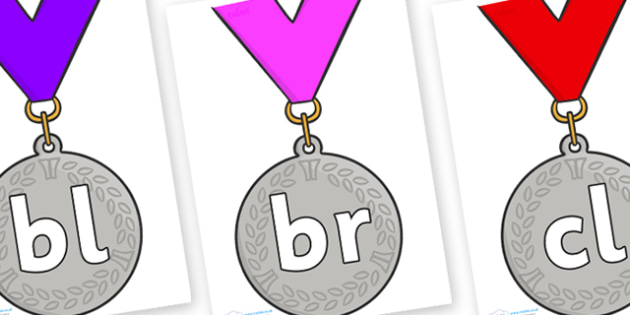Initial Letter Blends on Silver Medal - Initial Letters, initial letter, letter blend, letter blends, consonant, consonants, digraph, trigraph, literacy, alphabet, letters, foundation stage literacy