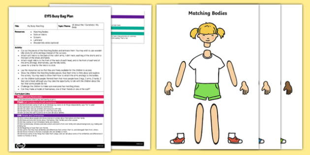 EYFS My Body Matching Busy Bag Plan and Resource Pack