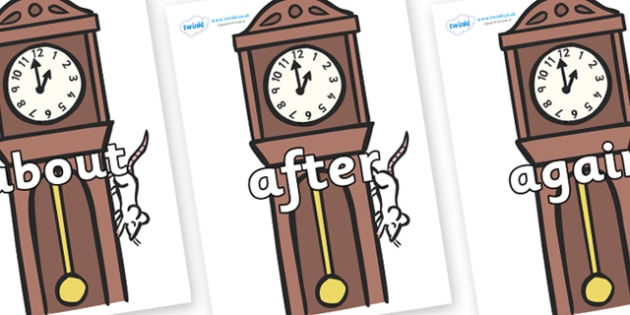 KS1 Keywords on Clocks - KS1, CLL, Communication language and literacy, Display, Key words, high frequency words, foundation stage literacy, DfES Letters and Sounds, Letters and Sounds, spelling