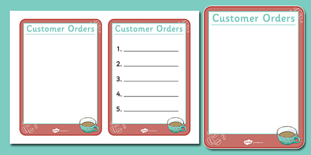 Cafe Order Forms - Cafe, Shop, role play, order, waitress, customer, waiter, menu, coffee, tea, waitress, till, cakes, cake, milk, sugar, table, chairs