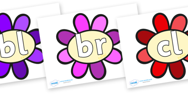 Initial Letter Blends on Flowers - Initial Letters, initial letter, letter blend, letter blends, consonant, consonants, digraph, trigraph, literacy, alphabet, letters, foundation stage literacy