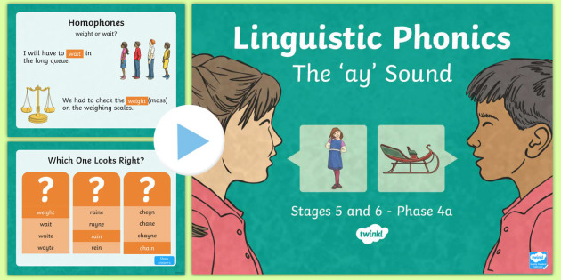 Northern Ireland Literacy Linguistic Phonics Stage 5 and 6 Phase 4a PowerPoint - Linguistic Phonics, Stage 5, Stage 6, Phase 4a, Northern Ireland, 'ay' sound, sound search, word