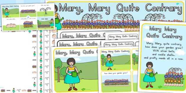 Mary Mary Quite Contrary Resource Pack - nursery, rhyme, rhymes