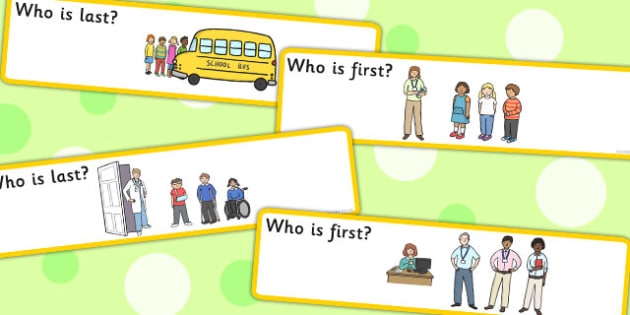 Who Is First Last Time Concept Cards - time concept cards, cards