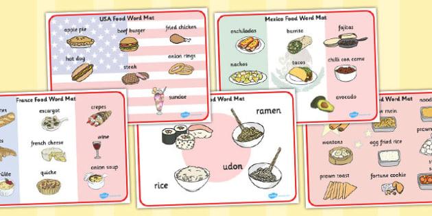 Food of the World Word Mats - food, world, word mats, word, mats