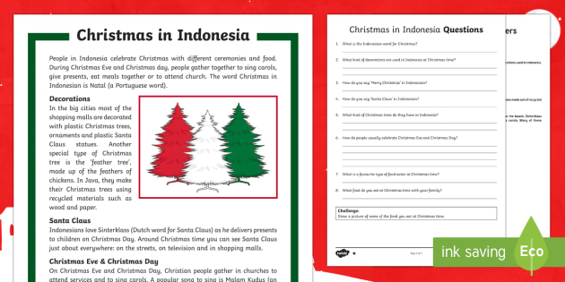 Christmas Around the World  Indonesia Differentiated Reading Comprehension Activity-Australia