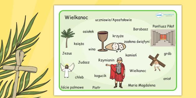 Plansza ze slownictwem Wielkanoc po polsku - szkola , Polish