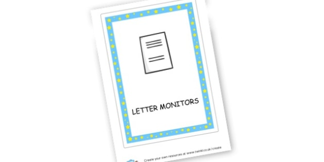 Letter Monitors Label - Classroom Signs & Label Primary Resources, labels, posters, rules