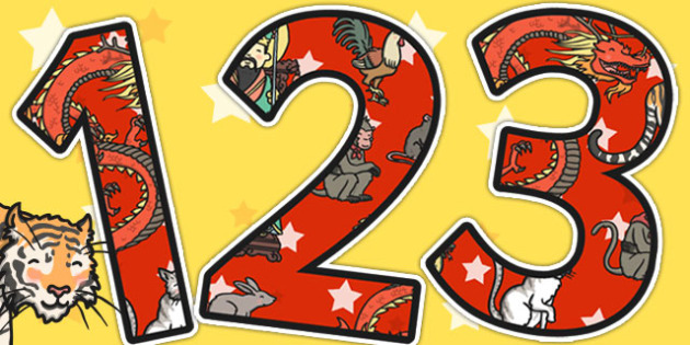 Chinese New Year Story Themed A4 Display Numbers - display, story