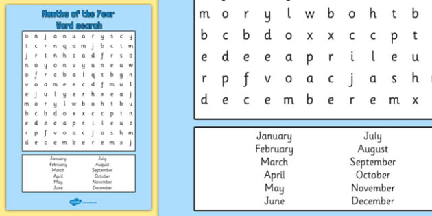Months of the Year Wordsearch - months, year, wordsearch, search