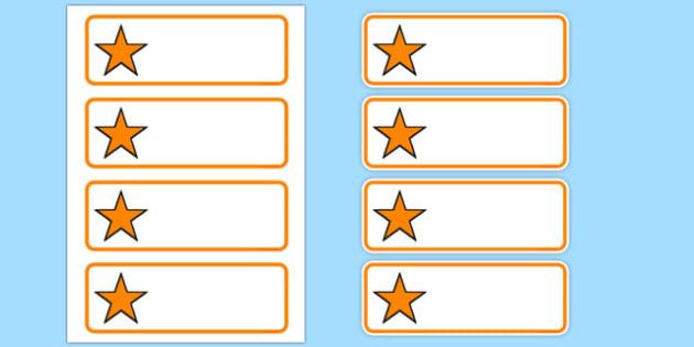 Editable Orange Stars Drawer, Peg, Name Labels - Editable Label Templates, star, stars, Resource Labels, Name Labels, Editable Labels, Drawer Labels, Coat Peg Labels, Peg Label, KS1 Labels, Foundation Labels, Foundation Stage Labels, Teaching Label