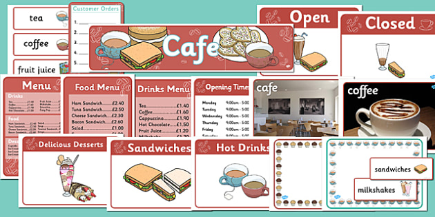 Cafe Role Play Pack - Cafe, shop, role play, price, prices, poster, display, menu, role play, order, waitress, customer, waiter, menu, coffee, tea, waitress, till, cakes, cake, milk, sugar, table, chairs