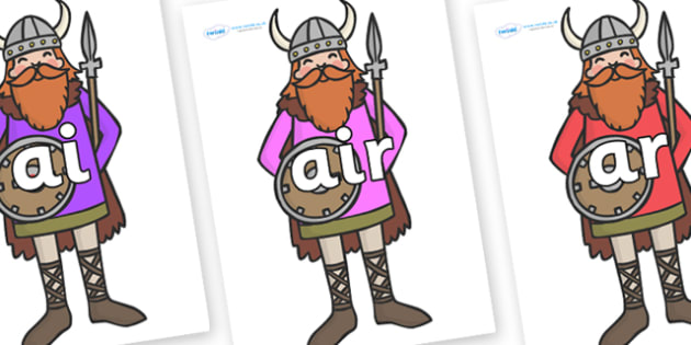 Phase 3 Phonemes on Vikings - Phonemes, phoneme, Phase 3, Phase three, Foundation, Literacy, Letters and Sounds, DfES, display