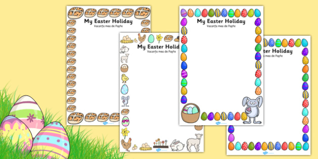 My Easter Holiday Writing Frames Romanian Translation - romanian, writing frame, frame, writing, writing aid, writing template, template, literacy, reading and writing