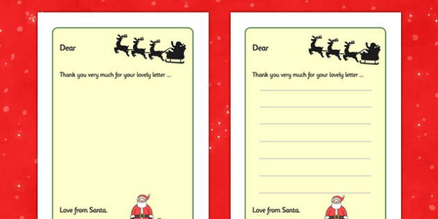 Letter from Santa Writing Frames - Christmas, xmas, letter, santa, present, father christmas, writing aid, tree, advent, nativity, santa, father christmas, Jesus, tree, stocking, present, activity, cracker, angel, snowman, advent , bauble, writing to