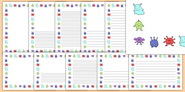 Monster Full Page Borders - page border, border, frame, writing frame, writing template, monster page borders, monster full page borders, monster, monsters, writing aid, writing, A4 page, page edge, writing activities, lined page, lined pages, readin