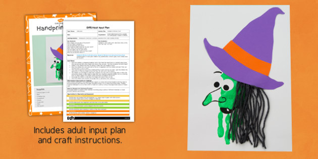Handprint Witch EYFS Adult Input Plan And Craft Pack - handprint, witch, eyfs, plan, craft, pack, halloween