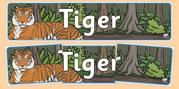 Tiger Display Banner - tigers, display, banner, jungle, animals, wild, wildlife, banner, sign, rare, endangered