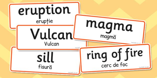 Volcano Word Cards Romanian Translation - romanian, vulcan, cards