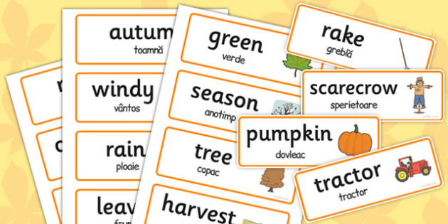 Autumn Topic Words Romanian Translation - romanian, autumn, topic, words