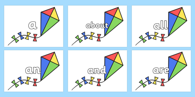 100 High Frequency Words on Kites - High frequency words, hfw, DfES Letters and Sounds, Letters and Sounds, display words