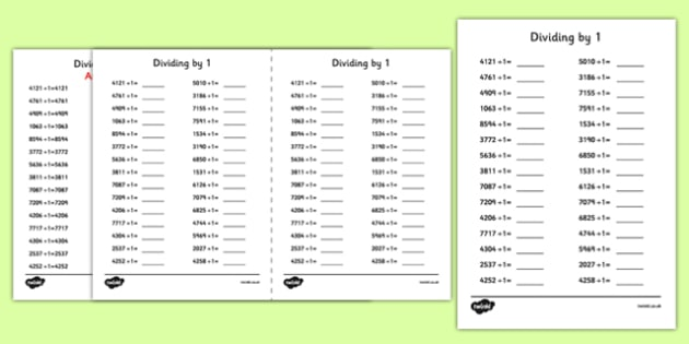 Dividing 4 Digit Numbers by 1 A5 Activity Sheet - dividing, 4 digit, numbers, by 1, activity, sheet, worksheet