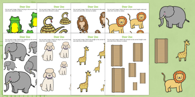 Size Ordering to Support Teaching on Dear Zoo - dear zoo, size ordering, size, ordering, activity