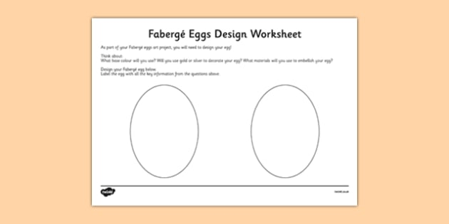 Fabergé Eggs Design Activity Sheet - Faberge, egg, russia, tsar, design , worksheet