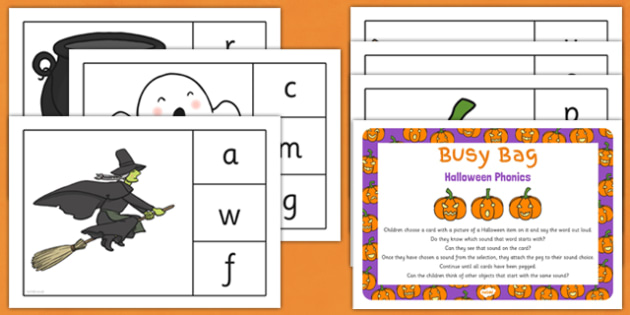 Halloween Phonic Matching Busy Bag Resource Pack for Parents - halloween, phonic, matching, busy bag