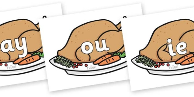 Phase 5 Phonemes on Christmas Turkeys - Phonemes, phoneme, Phase 5, Phase five, Foundation, Literacy, Letters and Sounds, DfES, display