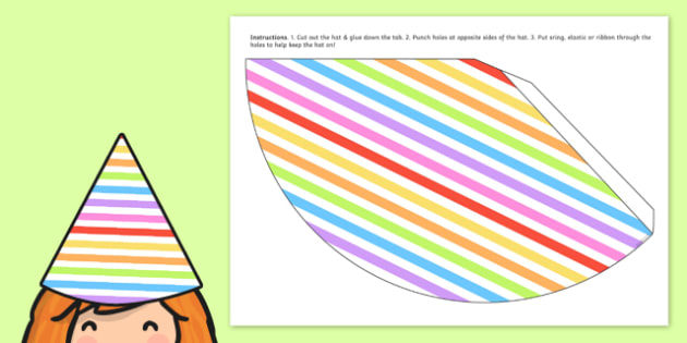 Rainbow Themed Birthday Party Hats - parties, birthdays, props