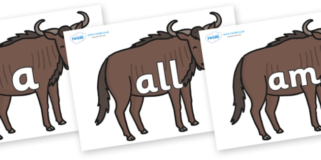 Foundation Stage 2 Keywords on Wildebeests - FS2, CLL, keywords, Communication language and literacy,  Display, Key words, high frequency words, foundation stage literacy, DfES Letters and Sounds, Letters and Sounds, spelling