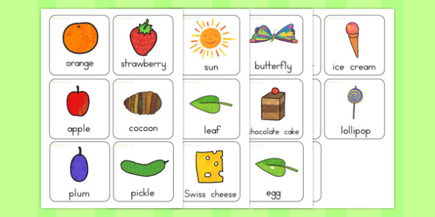 Flash Cards to Support Teaching on The Very Hungry Caterpillar - australia, caterpillar