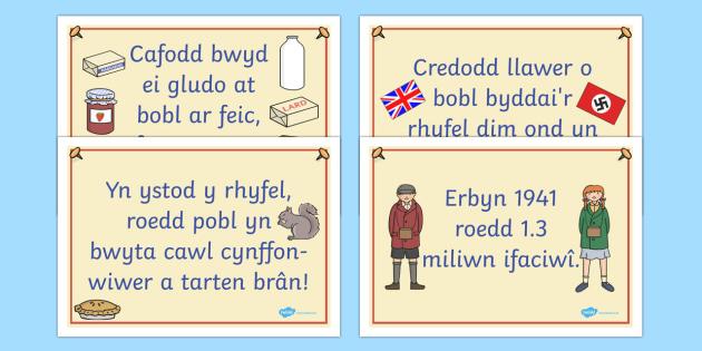 Posteri Ffeithiau am yr Ail Ryfel Byd Posteri Ffeithiau Arddangos-Welsh