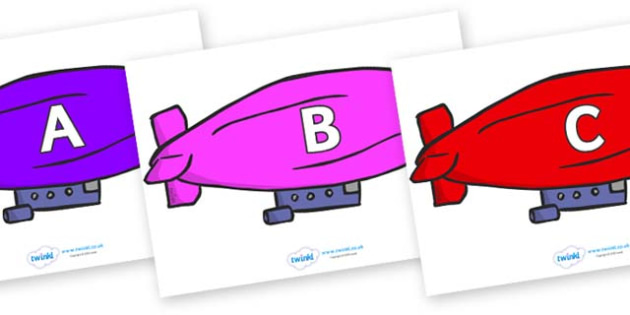 A-Z Alphabet on Air Bus - A-Z, A4, display, Alphabet frieze, Display letters, Letter posters, A-Z letters, Alphabet flashcards