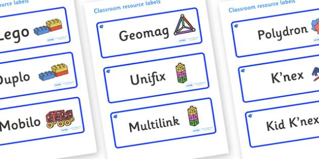 Sapphire Themed Editable Construction Area Resource Labels - Themed Construction resource labels, Label template, Resource Label, Name Labels, Editable Labels, Drawer Labels, KS1 Labels, Foundation Labels, Foundation Stage Labels