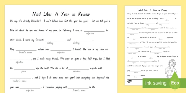 Year in Review Mad Libs Activity Sheet