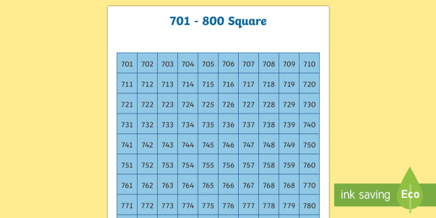 701-800 Square - number square, hundred square, number, numbers, square, count, 701-800