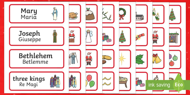 Christmas Topic Word Cards English/Italian - Christmas Topic Word Cards - Christmas, xmas, word card, flashcard, word cards, tree, advent, nativi