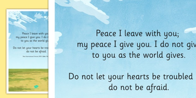 Peace I Leave with You' Bible Scripture Motivational Poster