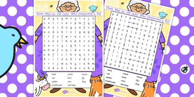 There Was an Old Lady Who Swallowed a Fly Wordsearch - wordsearch