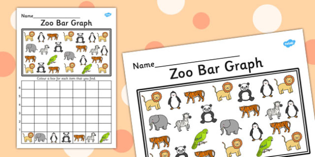 Zoo Bar Graph Activity Worksheet - zoo, bar graph, bar, graph