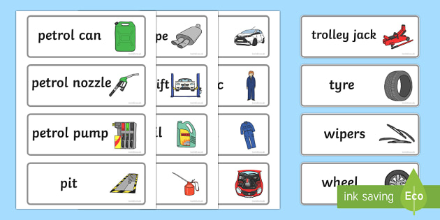 Mechanics/Garage Role Play Word Cards - Mechanics/Garage Role Play Pack, Word cards, Word Card, flashcard, flashcards, garage,  mechanic, car, MOT, car parts, hydraulic lift, petrol, oil, role play, display, poster